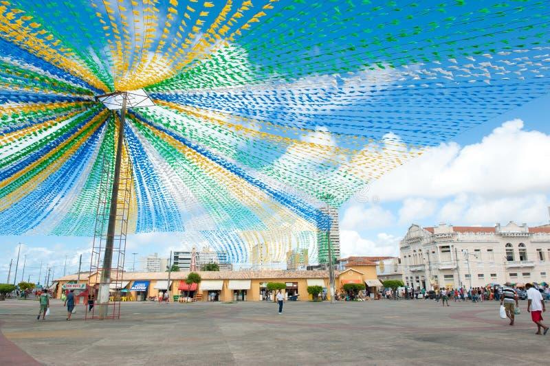 ARACAJU. BRAZIL - JUNE 6, 2014: Saint John flags at the municipal market, in  - Sergipe royalty free stock photography