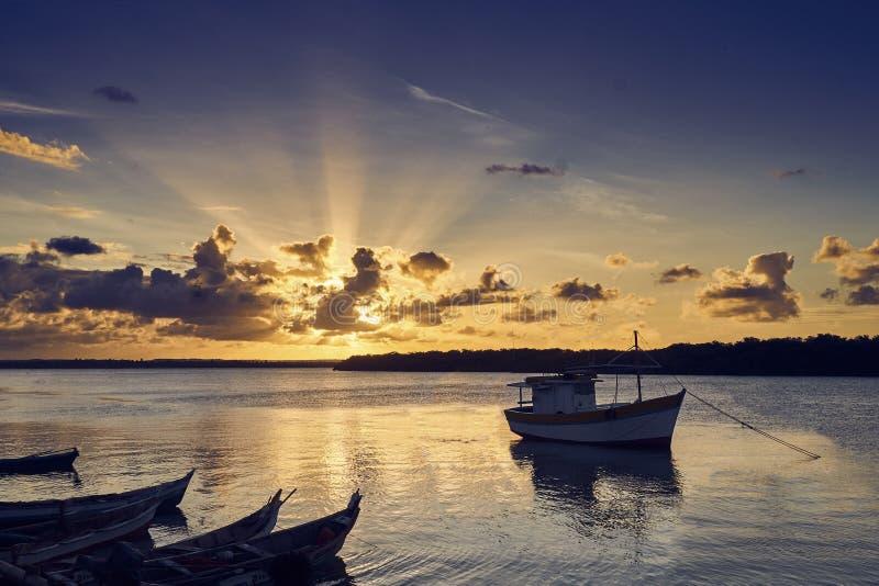 Aracaju de la puesta del sol de Orla foto de archivo