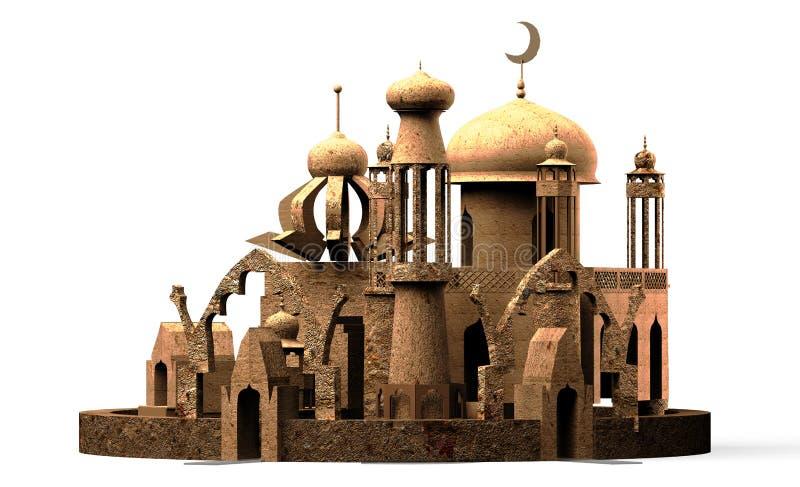 araceli μιναρές μουσουλμανικών τεμενών πόλεων, τρισδιάστατη απόδοση στοκ φωτογραφίες με δικαίωμα ελεύθερης χρήσης