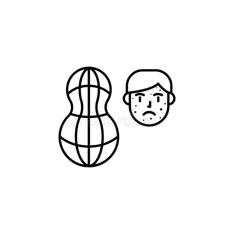 Arachide, icône allergique de visage Élément des problèmes avec l'icône d'allergies Ligne mince icône pour la conception de site  illustration libre de droits