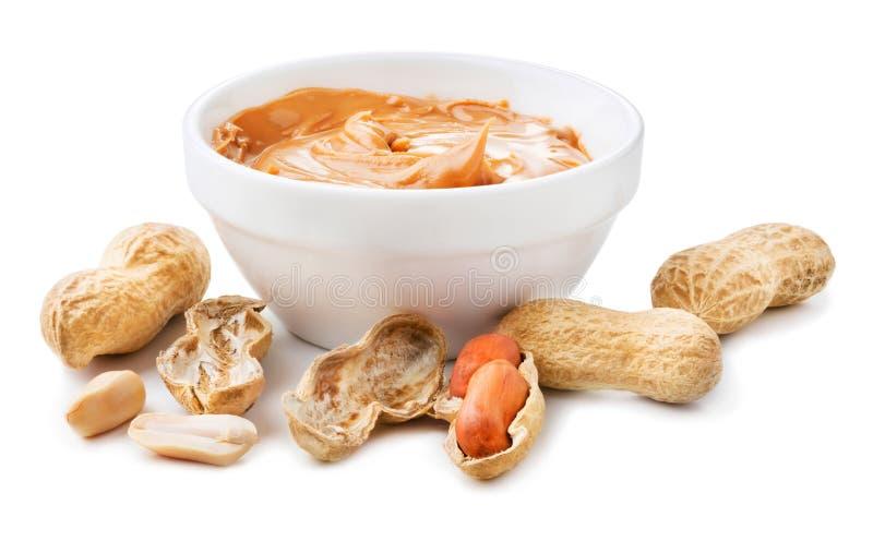 Arachides avec le beurre d'arachide photos stock