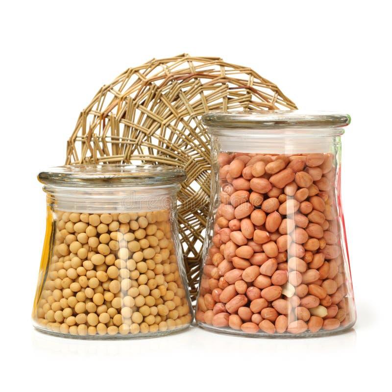 Arachides et haricots de soja image stock