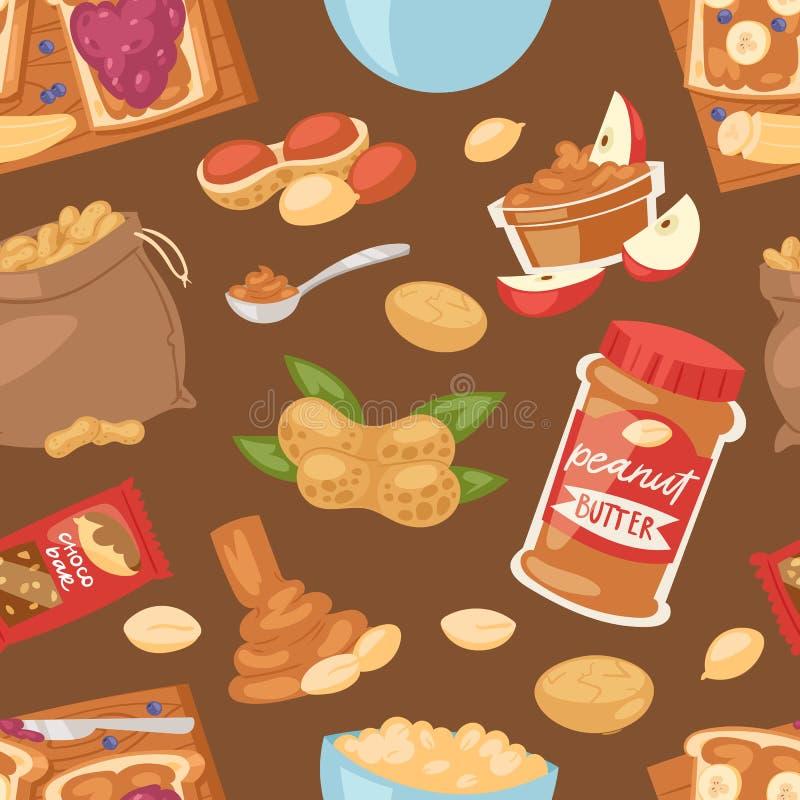 Arachidowy wektorowy groundnut masło lub arachidowa pasta na grzanki chlebowy ilustracyjnym ustawiającym odżywcza dokrętki śmieta ilustracji