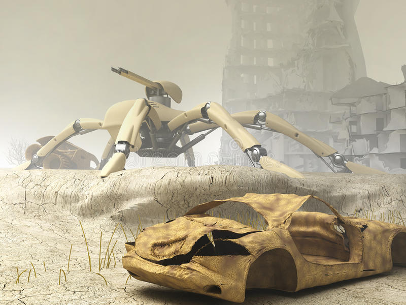 Arachnida Mech On Guard Stock Photos
