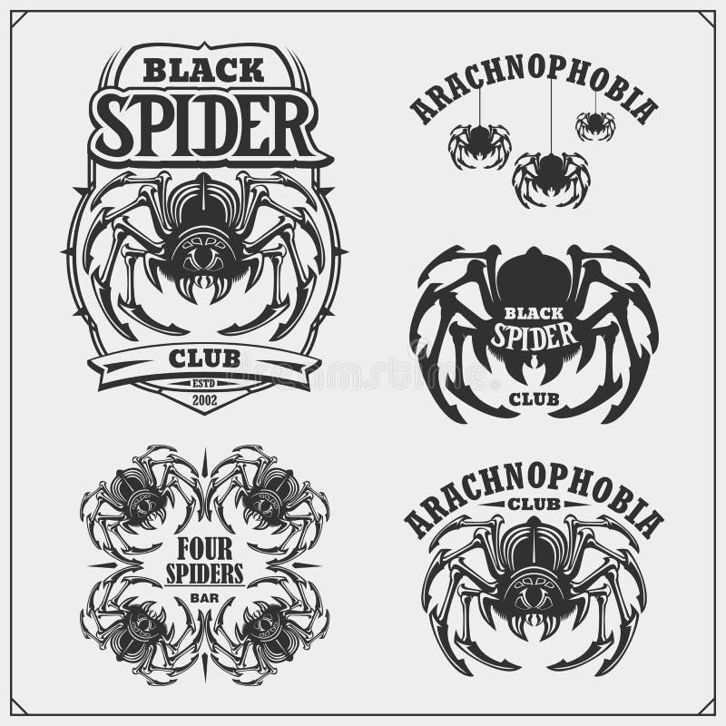 Arachnophobia club emblems. Night dance club, sport team design. Scary spooky spider. Print design for t-shirt. Vector stock illustration