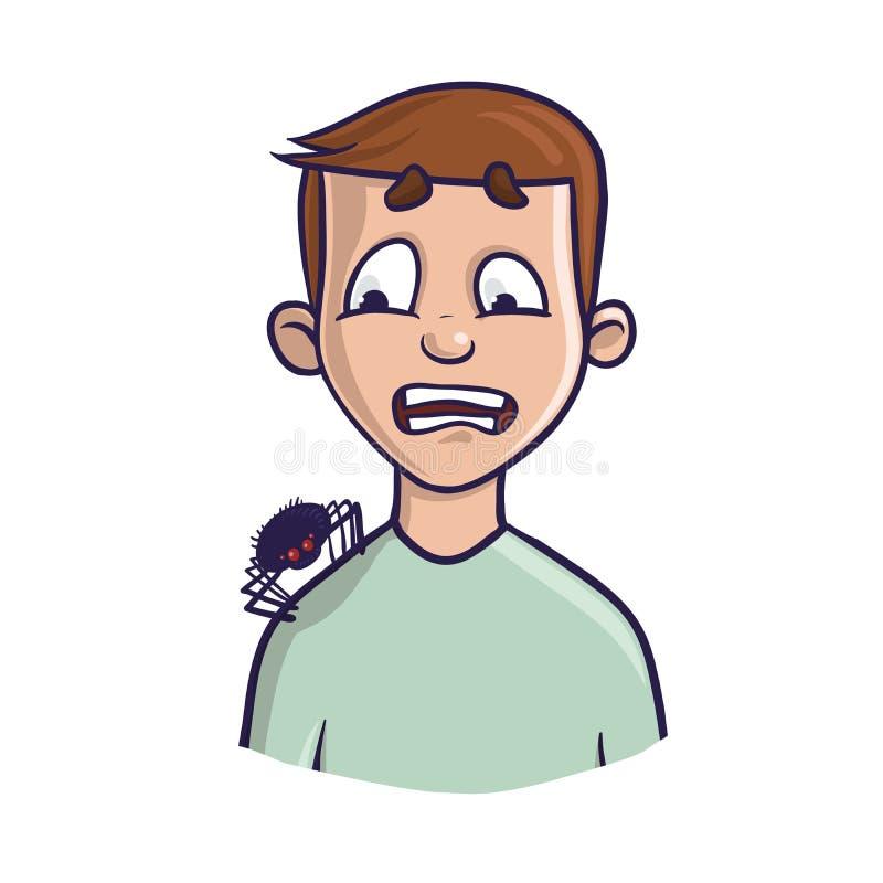 arachnophobia O medo das aranhas e dos outros aracnídeos Um homem amedrontado e a aranha em seu ombro Vetor ilustração royalty free