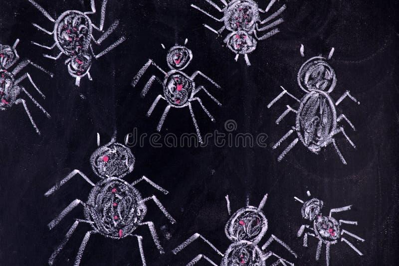 Arachnophobia: Skräck av spindlar royaltyfri foto