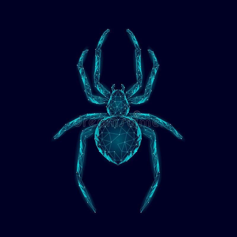 Aracnídeos perigosos da baixa aranha poli Conceito do antivirus da segurança dos dados do vírus da segurança da Web Incandescênci ilustração stock