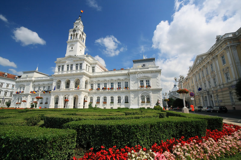 Arad City Hall. Old architecture of Arad City Hall, Romania royalty free stock images