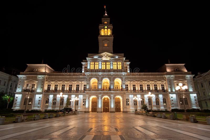 Arad city hall cityscape by night stock photography