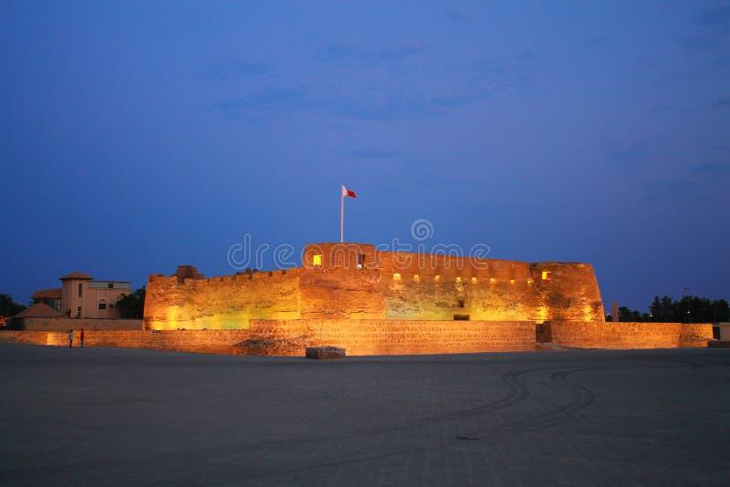 Arad fort in Manama Bahrain. Bahrain Fort Arad with lights stock image