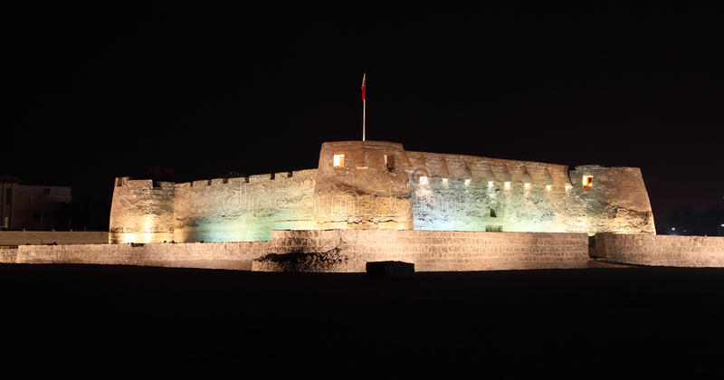 Arad Fort at night. Bahrain. Arad Fort at night. Muharraq Island, Bahrain, Middle East royalty free stock images