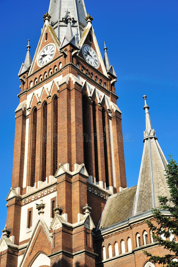 Arad Lutheran Church. The Lutheran Church of Arad was built in 1906 (neogothic style), being 49m high royalty free stock images