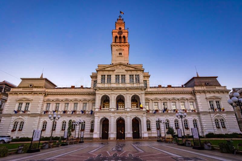 Arad, Romênia: Palacein administrativo o quadrado cetral, que imagens de stock royalty free