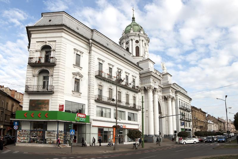 Arad downtown. Arad with Roman Catholic Cathedral royalty free stock images