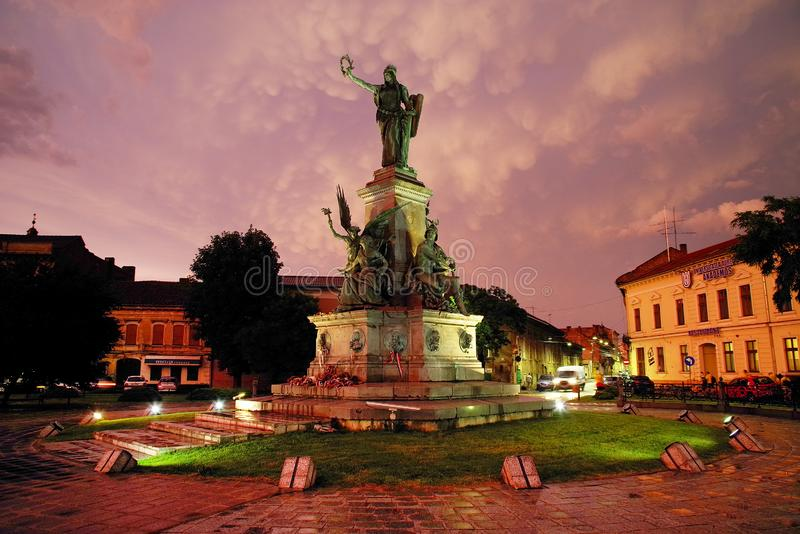 ARAD, ROMANIA, 28 JUNE, 2019: The Statue of Liberty of the Reconciliation Park of Arad under strange stormy clouds. stock images