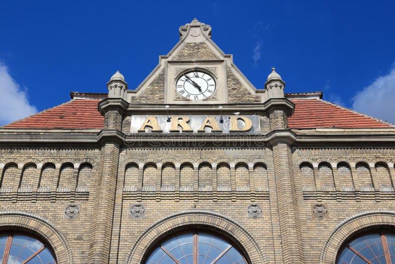 Arad, Rumänien - tågstation arkivfoton