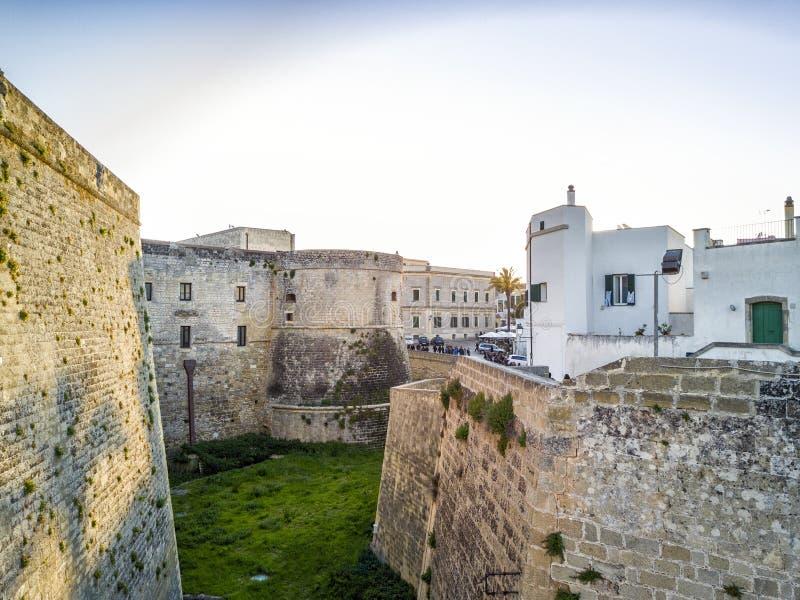 Aragonese城堡在奥特朗托,普利亚,意大利 库存照片