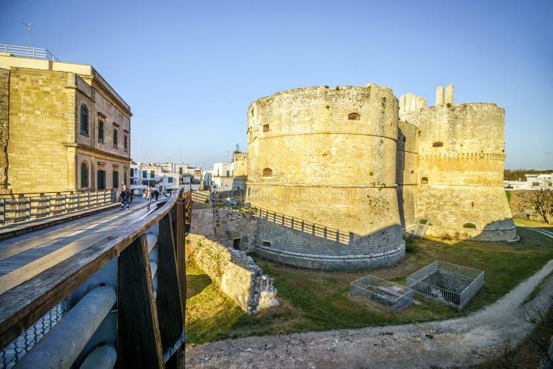 Aragonese城堡在奥特朗托,普利亚,意大利 图库摄影