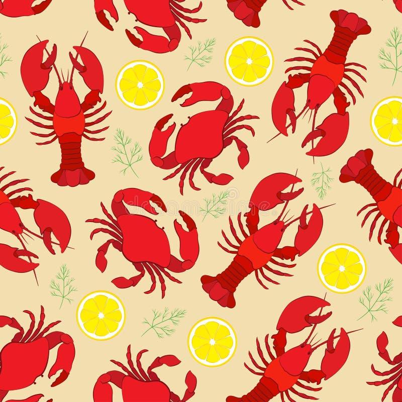 Aragosta e granchio con il limone e l'aneto illustrazione vettoriale