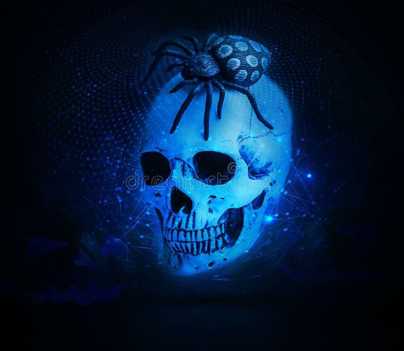 Araignée abstraite sur un crâne dans un fond cyan de réseau photo libre de droits