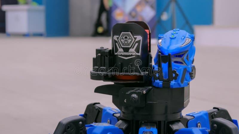 Araignée bleue de robot de bataille photo stock