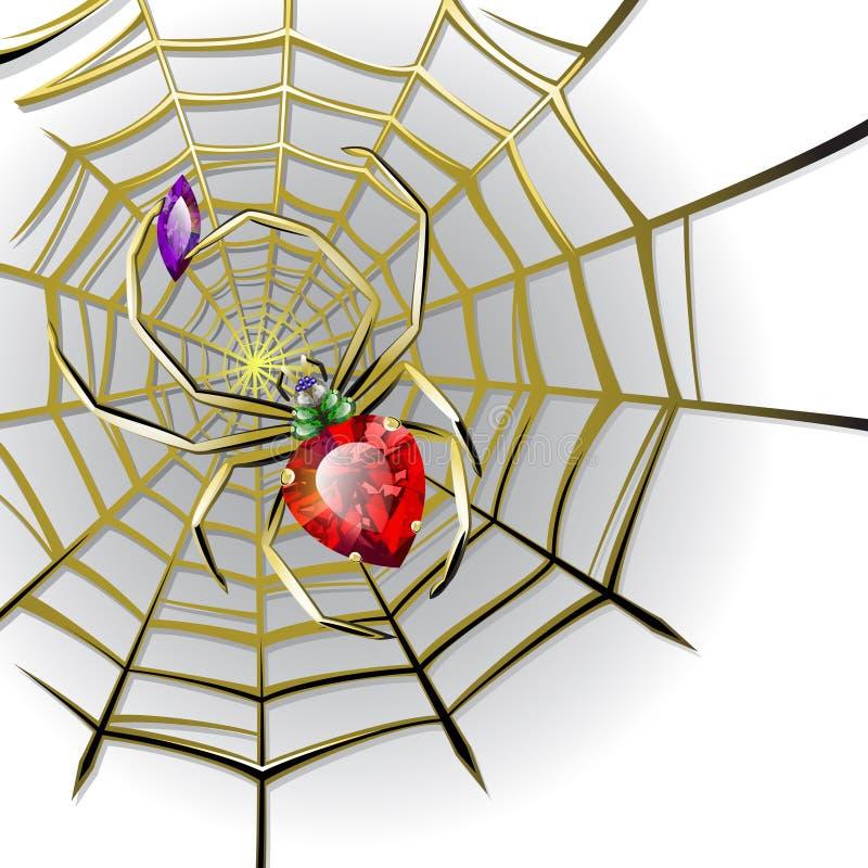 Araignée de bijou avec des gemmes sur le Web d'or illustration libre de droits