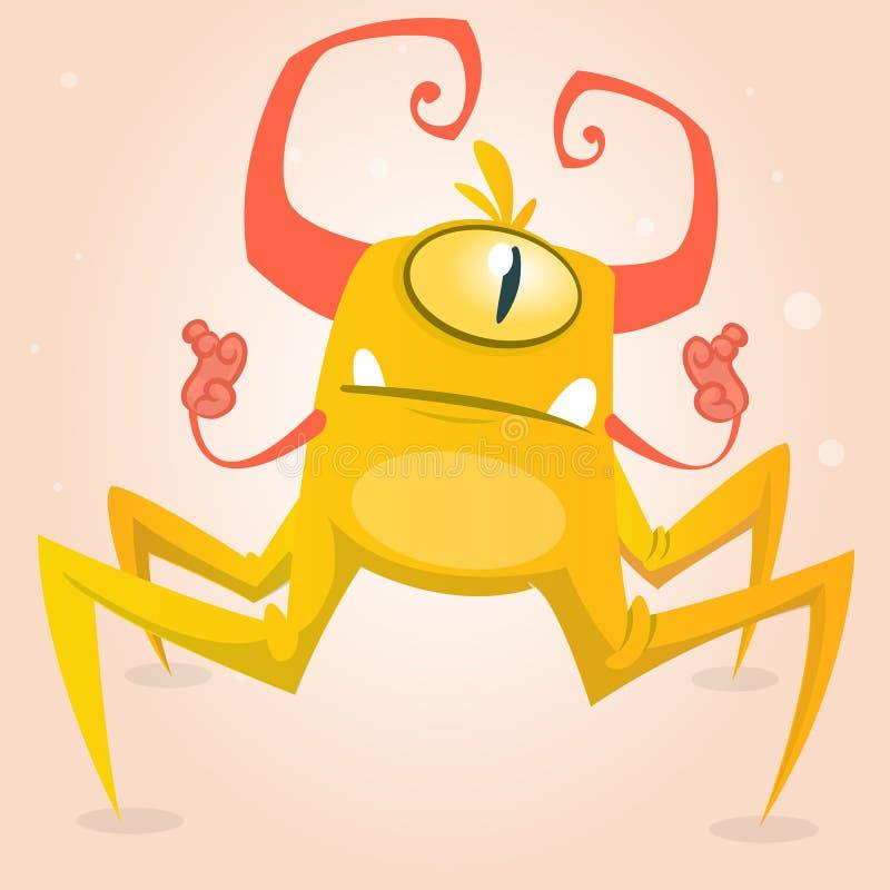 Araignée mignonne de monstre de bande dessinée Caractère jaune et à cornes de Halloween de monstre avec un oeil plan rapproché illustration de vecteur