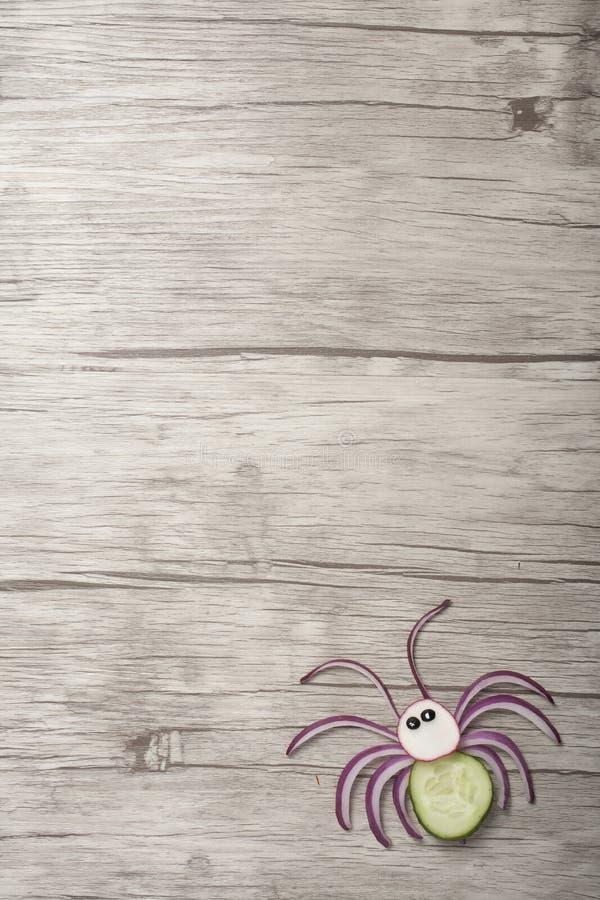 Araignée végétale abattue sur une planche en bois photographie stock