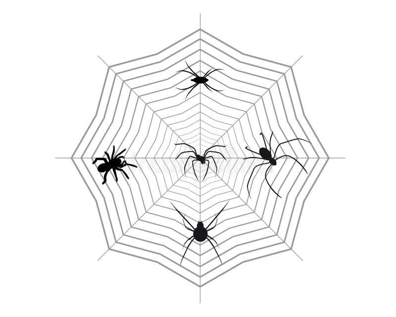 Araignées sur une toile d'araignée illustration libre de droits