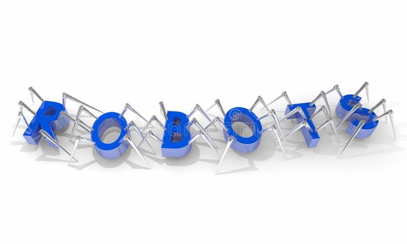 Araignées Word de marche de robots illustration libre de droits