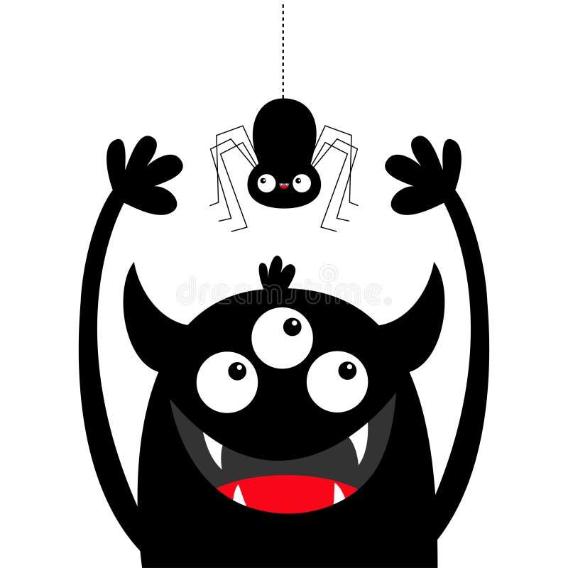 Araign?e accrochante Silhouette de noir de tête de monstre Trois yeux, croc de dents, klaxons, mains  Caract?re dr?le de b?b? de  illustration de vecteur