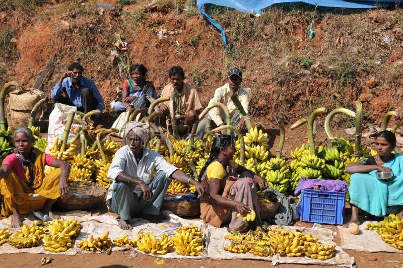 Araku谷, Vishakhapattnam,印度部族水果市场  免版税图库摄影
