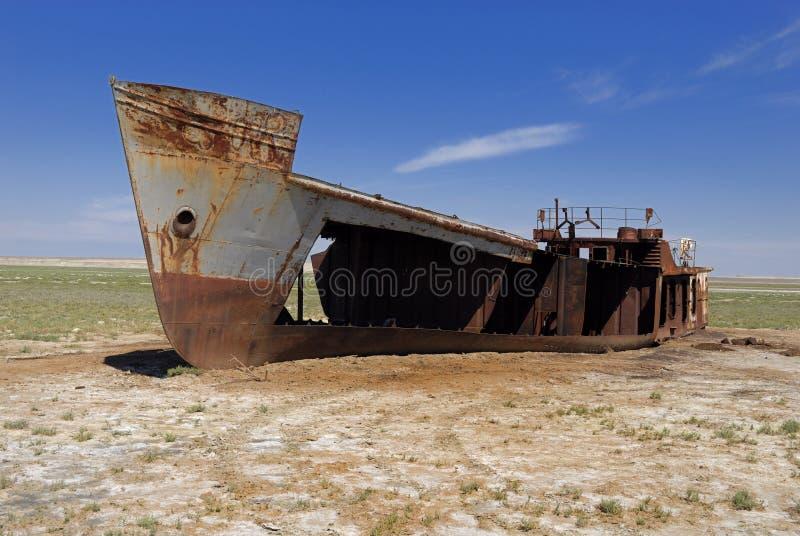 Aral-Seeunfall, Kazakhstan stockfotos