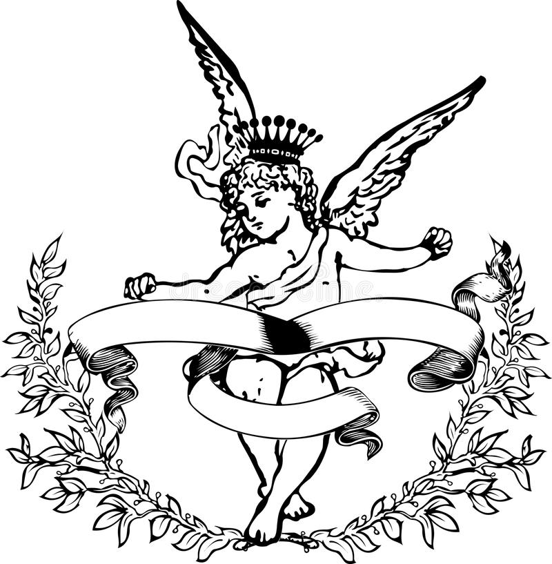 Araldica coronata in bianco e nero del Cupid. illustrazione vettoriale