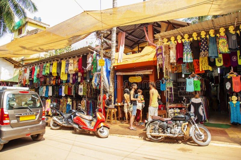 Arambol, Goa en la India, el 1 de febrero de 2019: Calle de Arambol fotografía de archivo libre de regalías