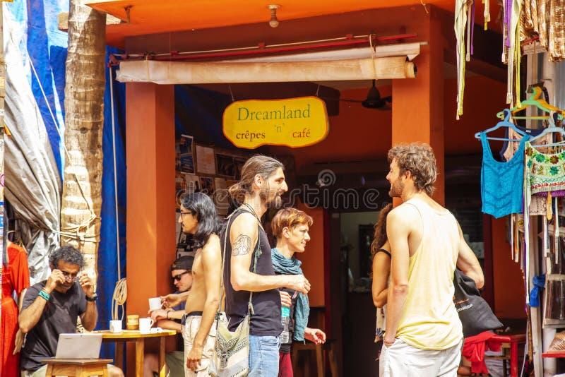 Arambol, Goa in India, 1 Februari, 2019: Straat van Arambol royalty-vrije stock foto