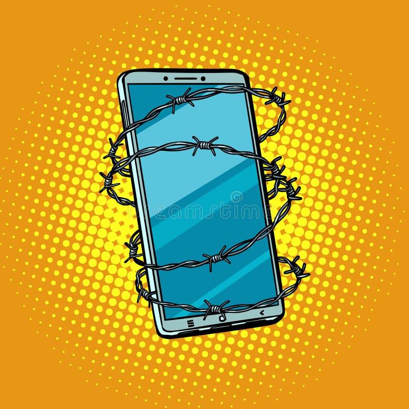 Arame farpado e telefone conceito do ce em linha do Internet da liberdade ilustração do vetor