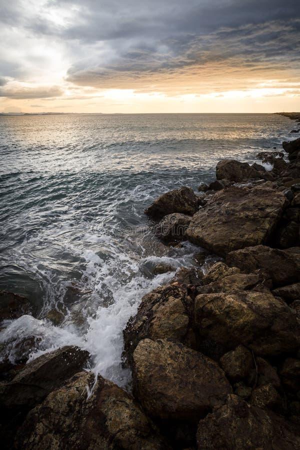 Aramoana海景日落 库存图片