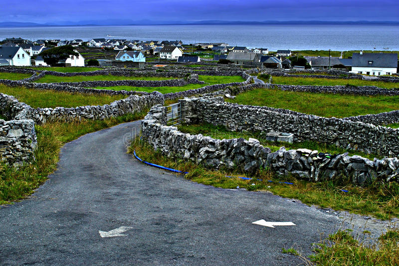 Aran Islands. A view of Inis Ã'ir, the middle size of the 3 Aran Islands, off the Irish west coast. The world famous Burren, in County Clare is in the stock photos