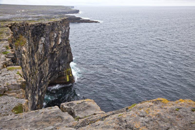 Aran Islands Cliffs. Cliff of Don Aengus, Inishmore, Aran Islands, Ireland stock photography