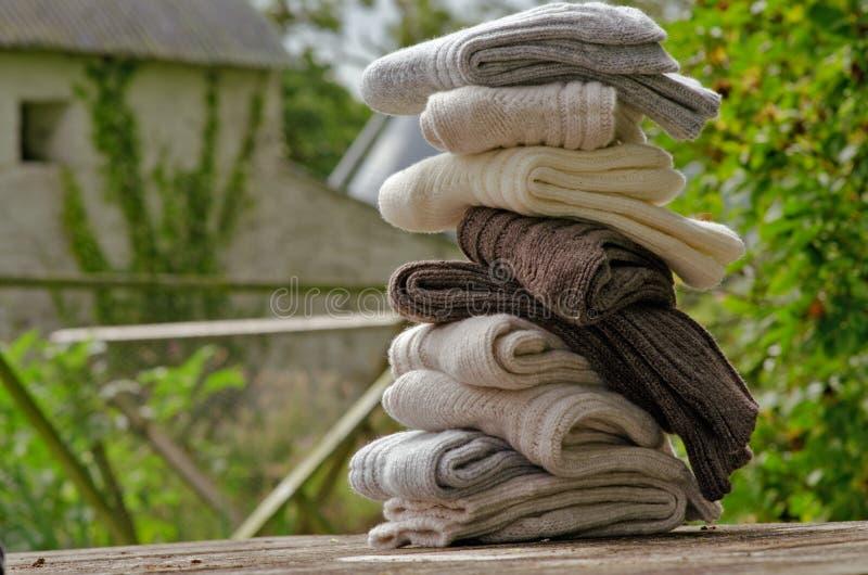 Aran knit heavy wool socks stock photography