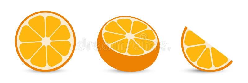 Arance con la fetta arancio ed a metà arancio agrume illustrazione vettoriale