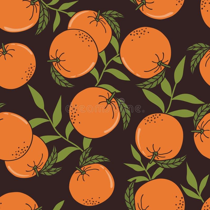 Arance fresche, foglie, fondo decorativo Modello senza cuciture con gli agrumi illustrazione vettoriale
