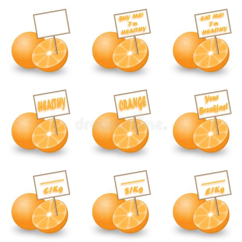 Arancia con l'etichetta fotografia stock libera da diritti