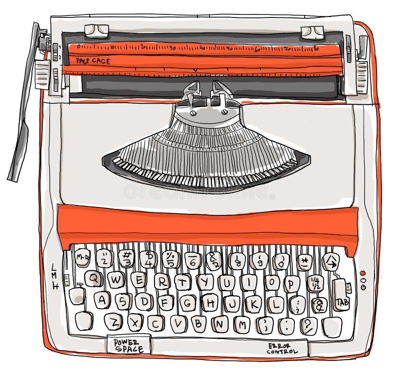 Arancia crema di tono della macchina da scrivere due illustrazione di stock