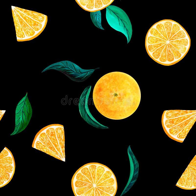 Arancia del modello dell'agrume dell'acquerello, modello senza cuciture con il ramo, illustrazione naturale botanica su fondo ner royalty illustrazione gratis
