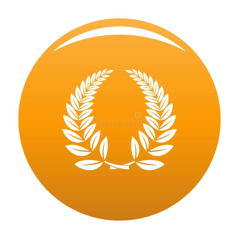 Arancia dell'icona della corona dell'alloro illustrazione di stock