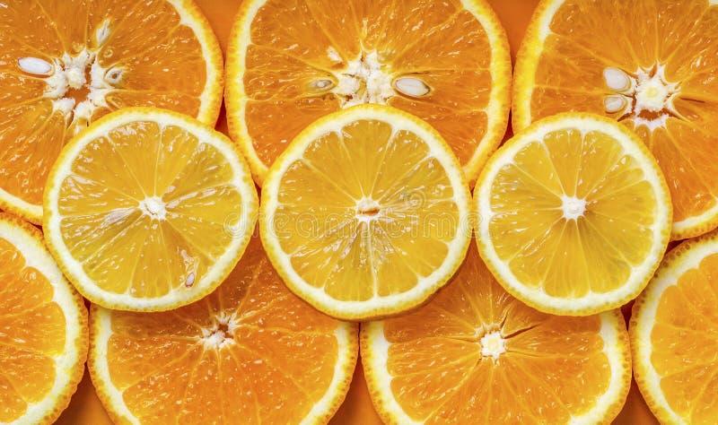 Arancia e circles3 inciso limone fotografia stock