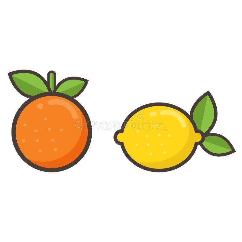 Arancia e limone del fumetto illustrazione di stock